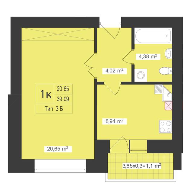 ЖК Центральный: планировка 1-комнатной квартиры 39.09 м2, тип 1-39.09