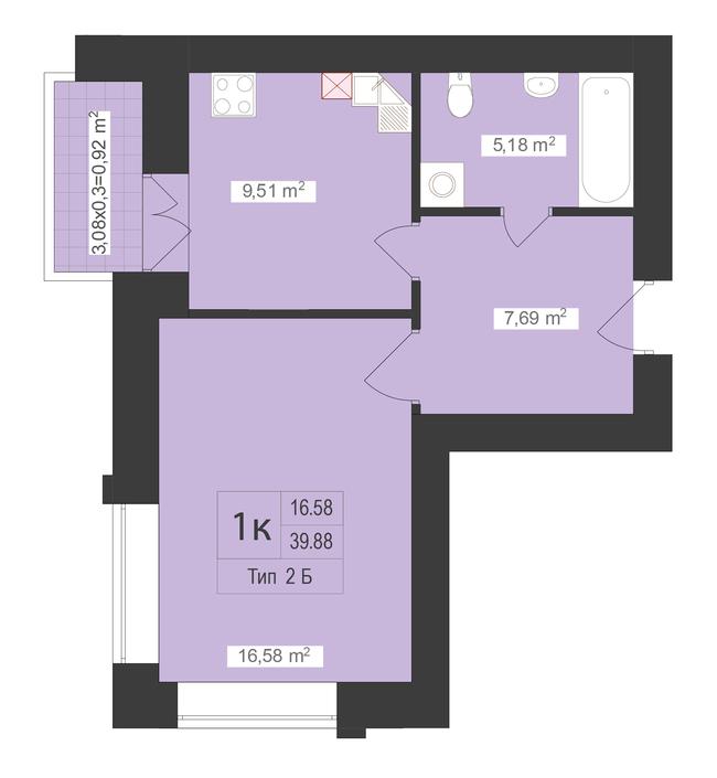 ЖК Центральный: планировка 1-комнатной квартиры 39.88 м2, тип 1-39.88