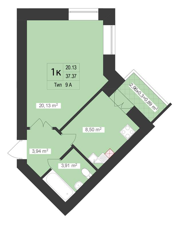 ЖК Центральный: планировка 1-комнатной квартиры 37.37 м2, тип 1-37.37