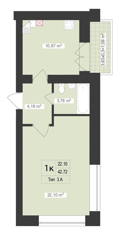 ЖК Центральный: планировка 1-комнатной квартиры 42.72 м2, тип 1-42.72