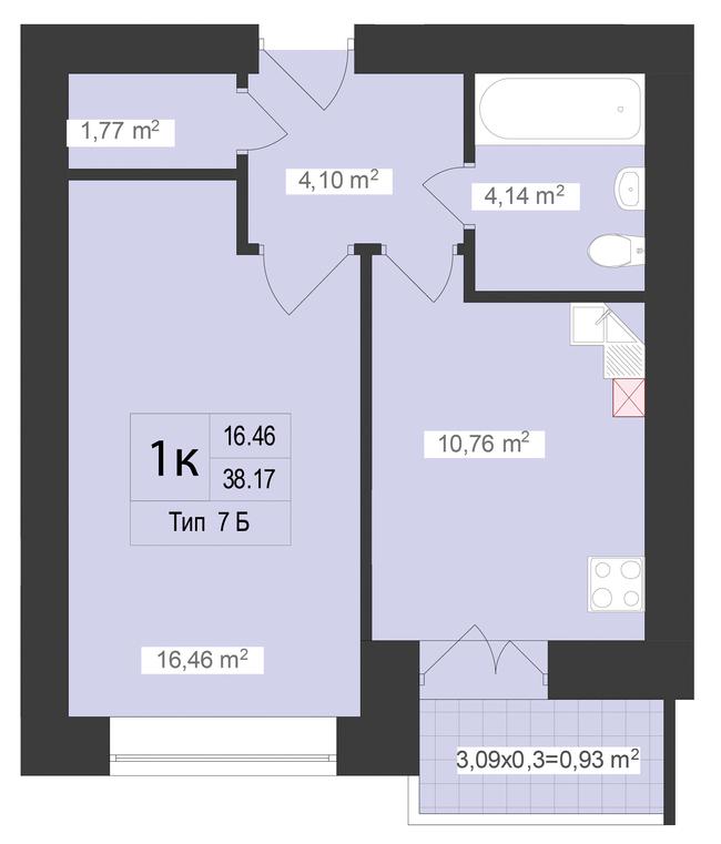 ЖК Центральний: планування 1-кімнатної квартири 38.17 м2, тип 1-38.17