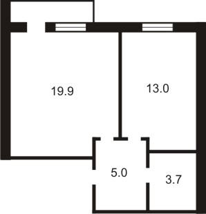 ЖК Петровский дворик: планировка 1-комнатной квартиры 38.9 м2, тип 1-38.9