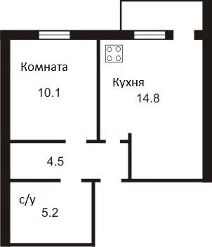 ЖК Петровский дворик: планировка 1-комнатной квартиры 34.6 м2, тип 1-34.6