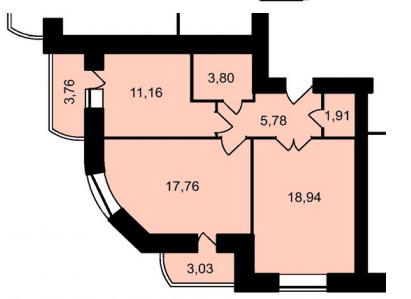 ЖК Садове місто: планування 2-кімнатної квартири 66.14 м2, тип 2-66.14