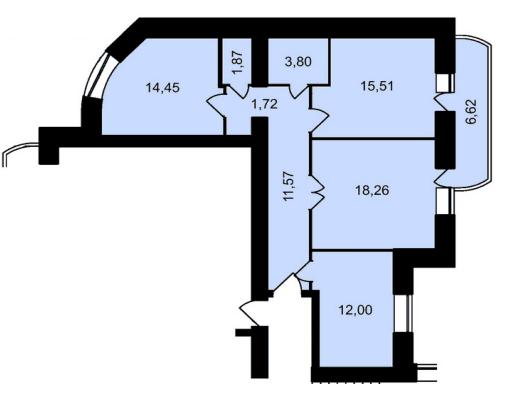 ЖК Садове місто: планування 3-кімнатної квартири 85.8 м2, тип 3-85.8