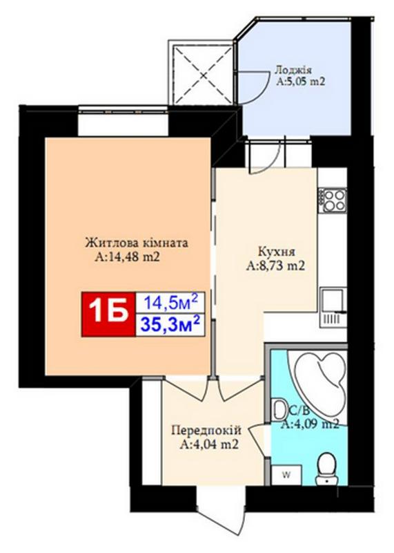 ЖК Комфорт Хаус: планировка 1-комнатной квартиры 35.3 м2, тип 1Б
