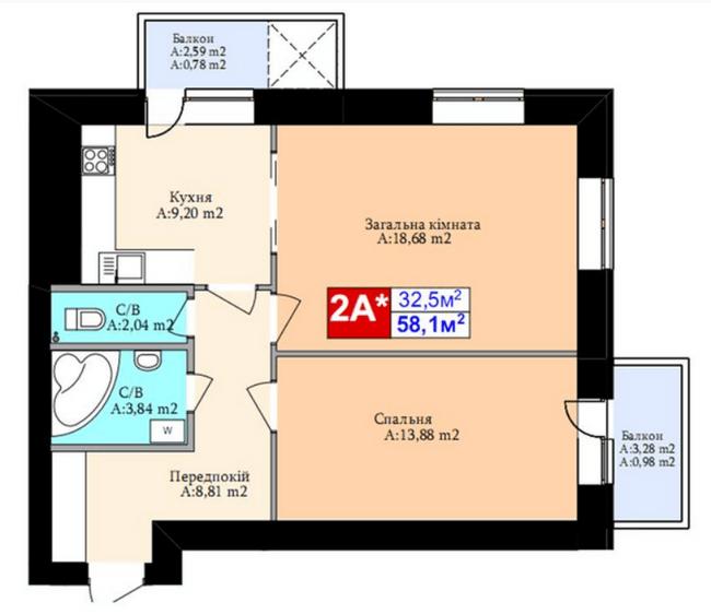 ЖК Комфорт Хаус: планування 2-кімнатної квартири 58.1 м2, тип 2А*