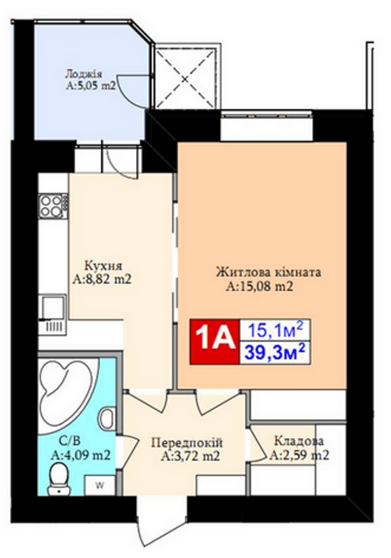 ЖК Комфорт Хаус: планировка 1-комнатной квартиры 39.3 м2, тип 1А