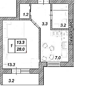 ЖК Креатив Хаус: планування 1-кімнатної квартири 28 м2, тип 1-28