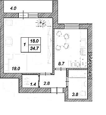 ЖК Креатив Хаус: планування 1-кімнатної квартири 34.7 м2, тип 1-34.7