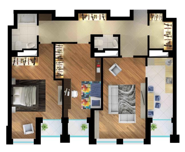 ЖК Elyseum: планування 3-кімнатної квартири 99.34 м2, тип 3-99.34