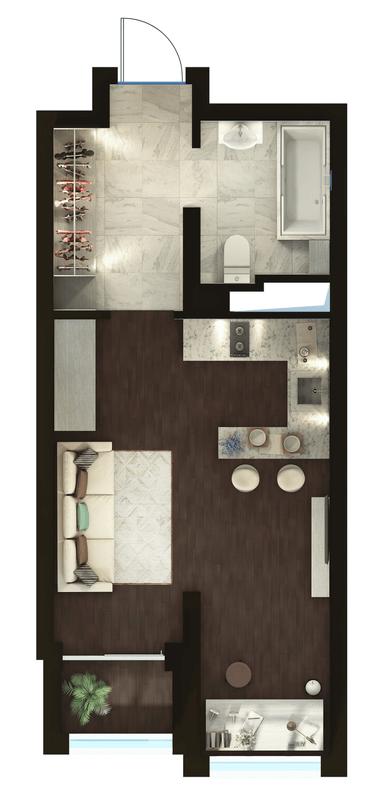 ЖК Elyseum: планування 1-кімнатної квартири 31.74 м2, тип 1-31.74