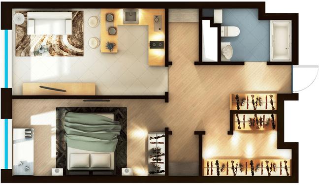 ЖК Elyseum: планировка 1-комнатной квартиры 55.52 м2, тип 1-55.52