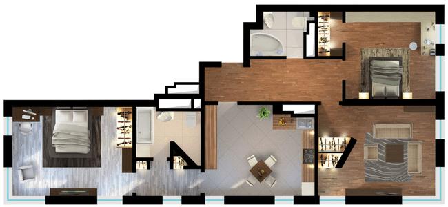 ЖК Elyseum: планування 3-кімнатної квартири 109.46 м2, тип 3-109.46