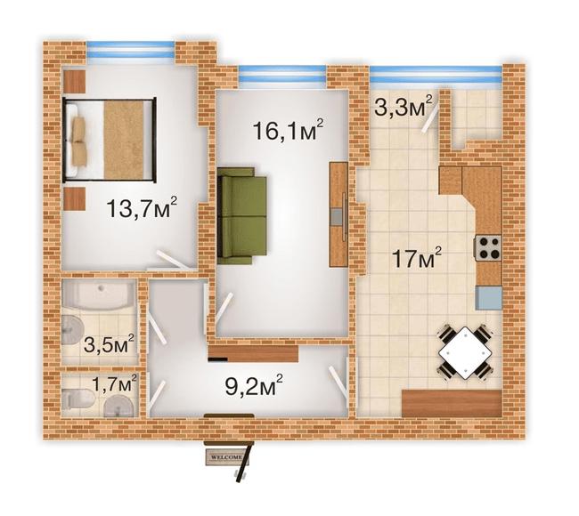 ЖК Sherwood Park: планування 2-кімнатної квартири 64.5 м2, тип 2-64.5