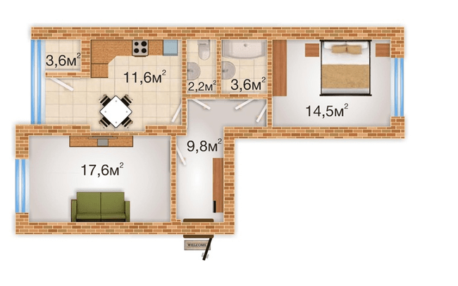 ЖК Sherwood Park: планировка 2-комнатной квартиры 62.9 м2, тип 2-62.9