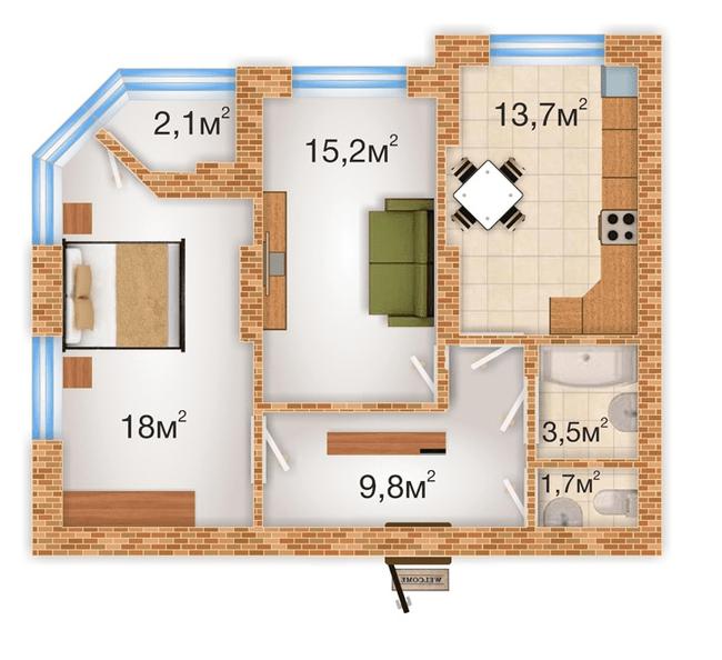 ЖК Sherwood Park: планування 2-кімнатної квартири 64 м2, тип 2-64