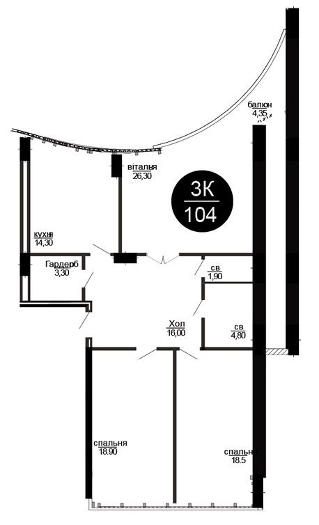 ЖК Parus: планировка 3-комнатной квартиры 104 м2, тип 3-104