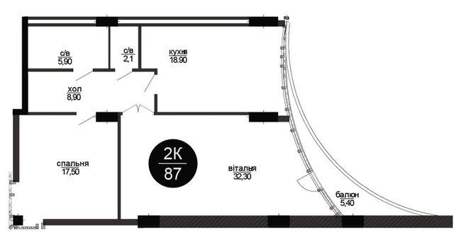 ЖК Parus: планування 2-кімнатної квартири 87 м2, тип 2-87