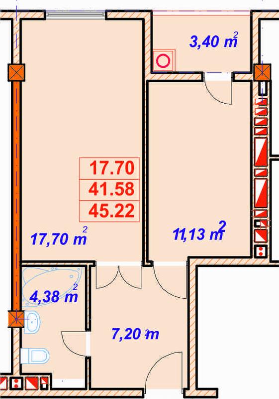 вул. Лемківська, 9а: планування 1-кімнатної квартири 45.22 м2, тип 1-45.22