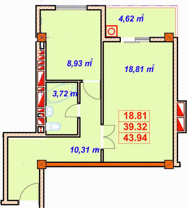 вул. Лемківська, 9а: планування 1-кімнатної квартири 43.94 м2, тип 1-43.94