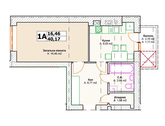 ЖК Комфорт Хаус 2: планування 1-кімнатної квартири 40.17 м2, тип 1А