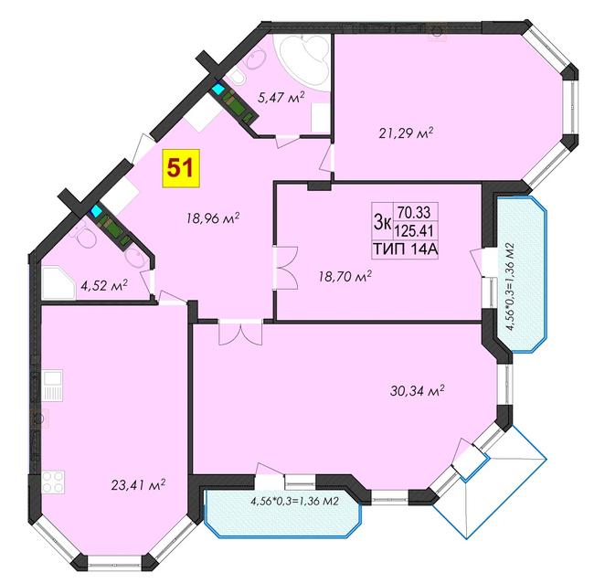 ЖК Rich Town: планування 3-кімнатної квартири 127 м2, тип 14А
