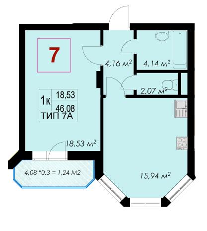 ЖК Rich Town: планировка 1-комнатной квартиры 46.08 м2, тип 7А