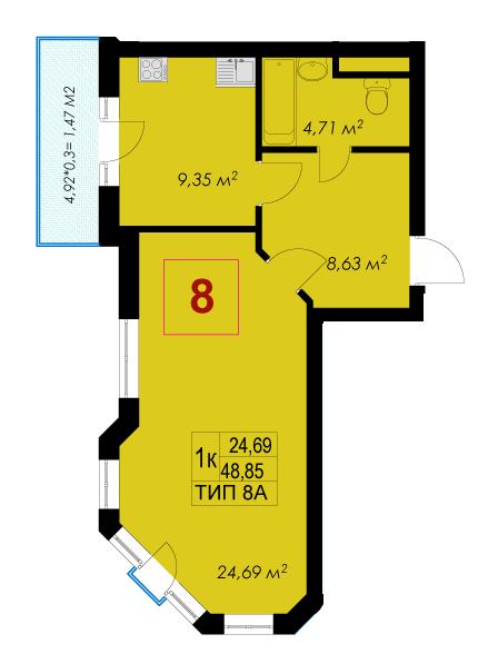 ЖК Rich Town: планировка 1-комнатной квартиры 48.85 м2, тип 8А