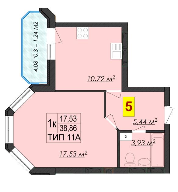 ЖК Rich Town: планировка 1-комнатной квартиры 38.86 м2, тип 11А
