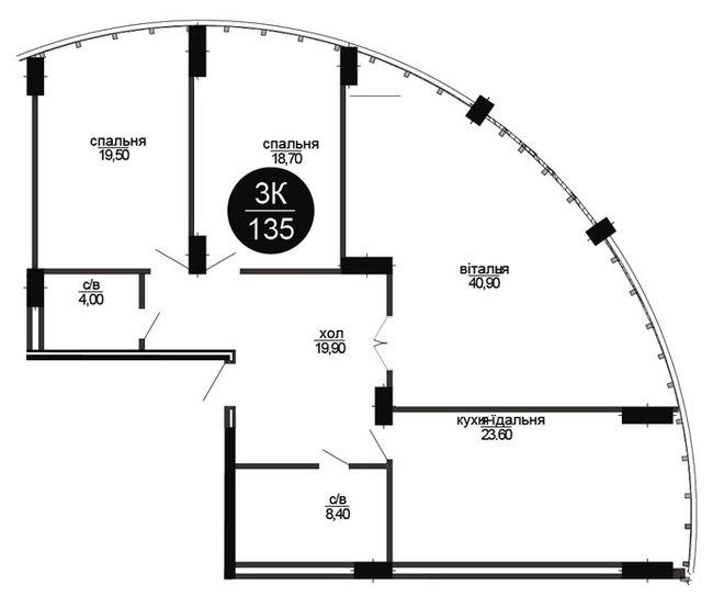 ЖК Parus: планировка 3-комнатной квартиры 135 м2, тип 3-135