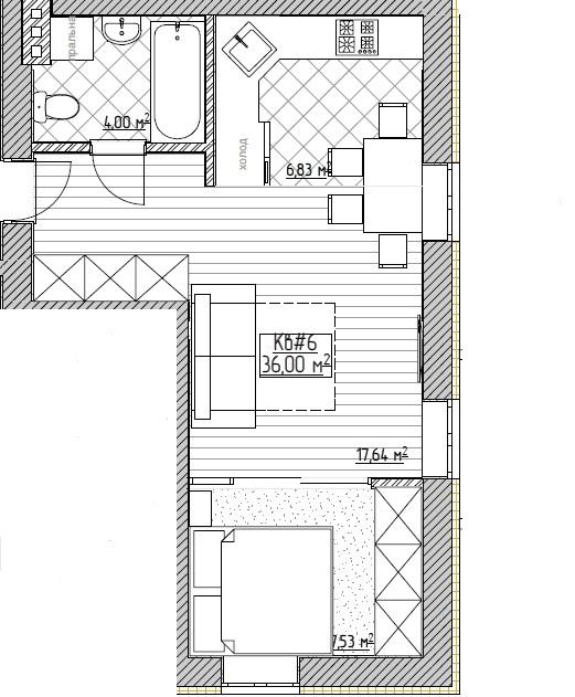 ЖК Запорізький: планування 1-кімнатної квартири 36 м2, тип 1-36