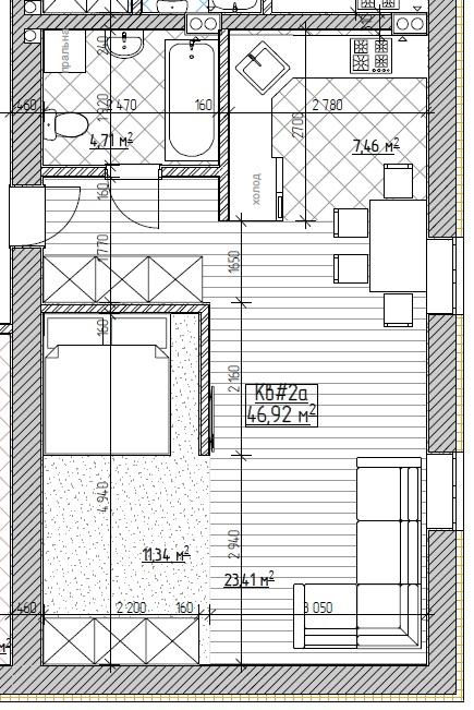 ЖК Запорізький: планування 1-кімнатної квартири 46.92 м2, тип 1-46.92