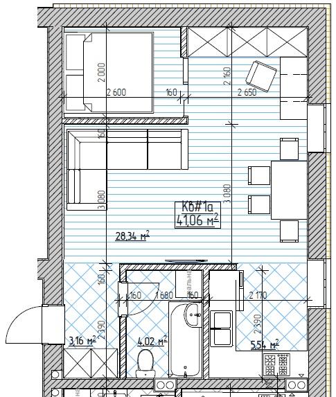 ЖК Запорізький: планування 1-кімнатної квартири 41.06 м2, тип 1-41.06