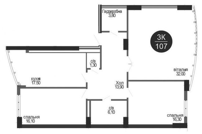ЖК Parus: планування 3-кімнатної квартири 107 м2, тип 3-107