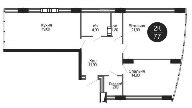 ЖК Parus: планировка 2-комнатной квартиры 77 м2, тип 2-77