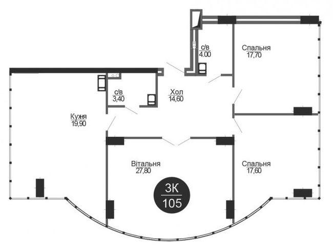 ЖК Parus: планировка 3-комнатной квартиры 105 м2, тип 3-105