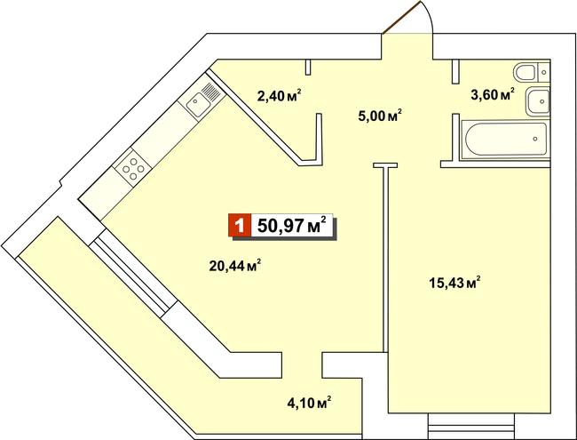 ЖК Другий Парковий: планування 1-кімнатної квартири 50.97 м2, тип 1-50.97
