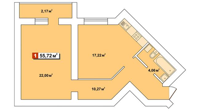 ЖК Другий Парковий: планування 1-кімнатної квартири 55.72 м2, тип 1-55.72