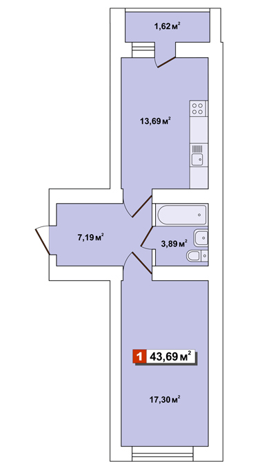 ЖК Другий Парковий: планування 1-кімнатної квартири 43.69 м2, тип 1-43.69