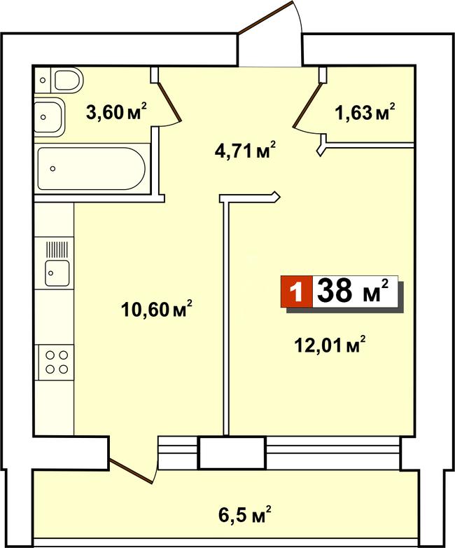 ЖК Второй Парковый: планировка 1-комнатной квартиры 38 м2, тип 1-38
