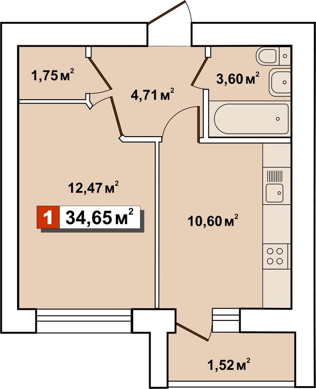 ЖК Другий Парковий: планування 1-кімнатної квартири 34.65 м2, тип 1-34.65