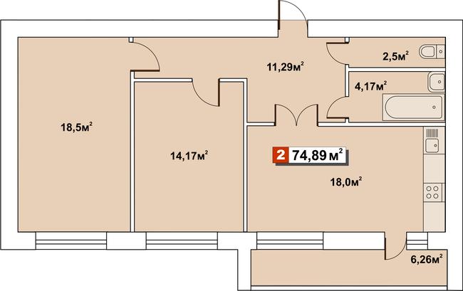 ЖК Второй Парковый: планировка 2-комнатной квартиры 74.89 м2, тип 2-74.89