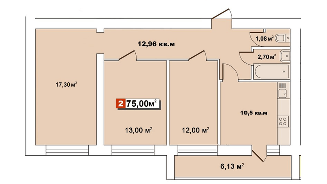 ЖК Второй Парковый: планировка 2-комнатной квартиры 75 м2, тип 2-75