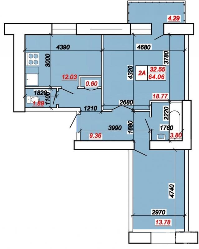 ул. Яремы: планировка 2-комнатной квартиры 64.06 м2, тип 2-64.06