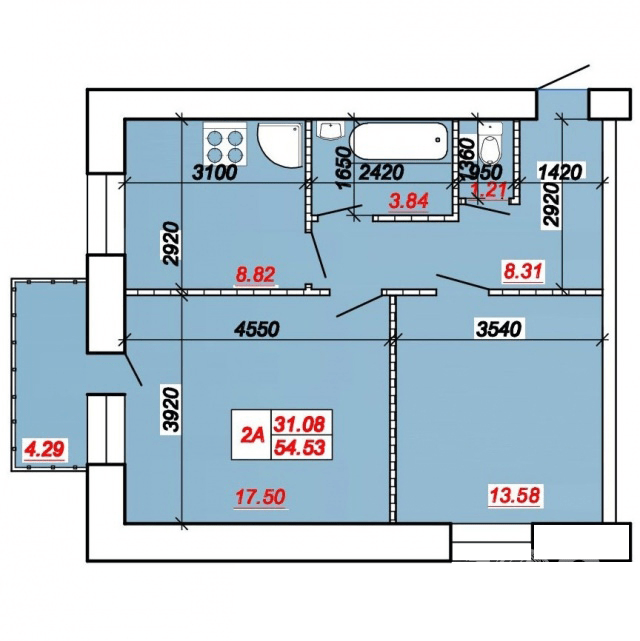 ул. Яремы: планировка 2-комнатной квартиры 54.53 м2, тип 2-54.53