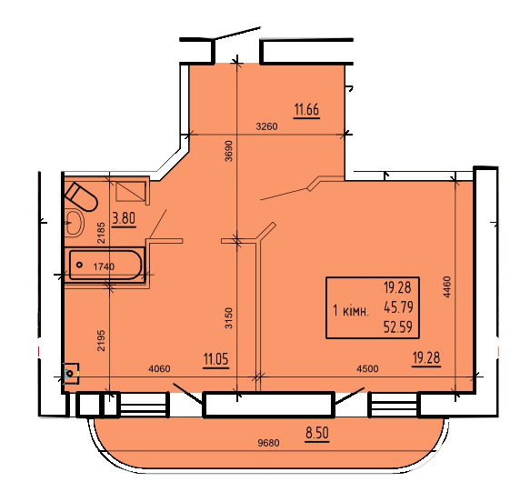 ул. Степана Тимошенко (Якира), 7а: планировка 1-комнатной квартиры 52.59 м2, тип 1-52.59
