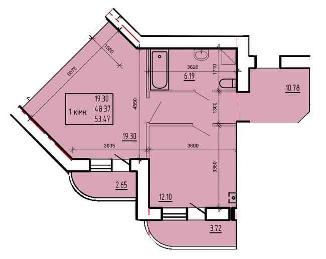 ул. Степана Тимошенко (Якира), 7а: планировка 1-комнатной квартиры 53.47 м2, тип 1-53.47