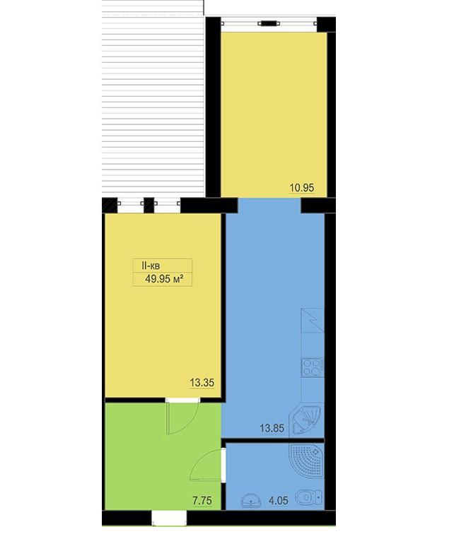 вул. Шевченка, 22б: планування 2-кімнатної квартири 49.95 м2, тип 2-49.95