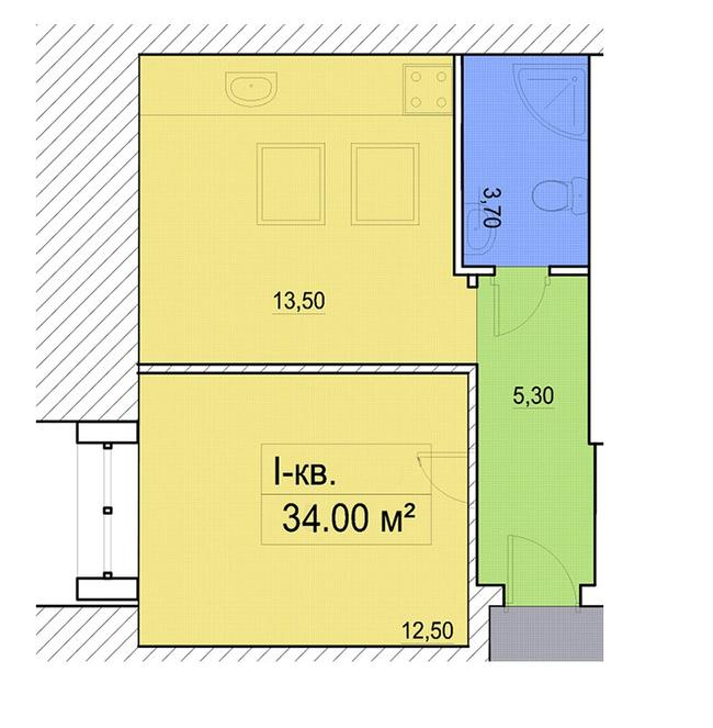 ул. Мечникова, 116: планировка 1-комнатной квартиры 34 м2, тип 1-34